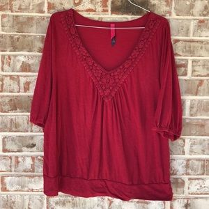 3X Red Peasant Style top